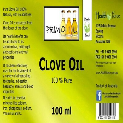 Clove oil 100ml - Perfect for Mould ( Oil of Cloves) - 100 % Pure oil