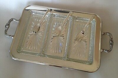 Leonard Silverplate Footed Relish Tray With 3 Glass Inserts And 3 Forks.