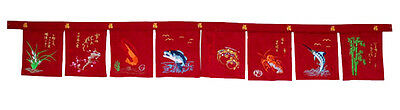 red faux suede noren large 8 panel sushi valance curtains embroidery restaurant