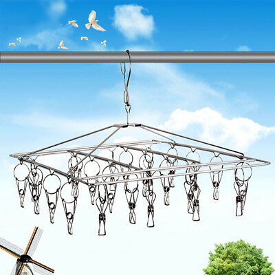Clothes Hanger Laundry Hanging Dryer 26 Clips Stainless Steel Sock Bra Underwear