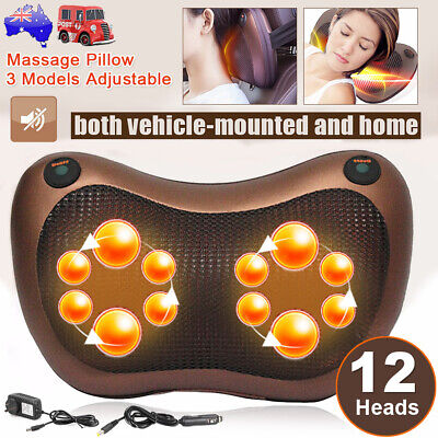 12 Drives Shiatsu Massager Body Massage Pillow Cushion Neck Knead Back Home+ Car