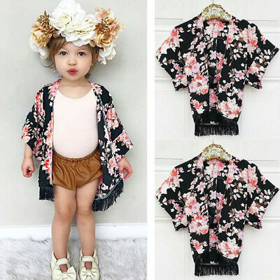 Child Kids Girls Tassel Floral Lace Sunsuit Outfits Kimono Cardigan Clothes Suit