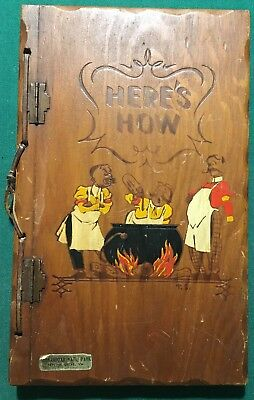 Vintage Alcohol Mixing Wooden Book 1941 Here's How