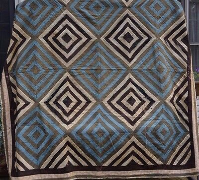 Antique Hand Made Multicolor Bed Hand Sewn Old Quilt Late 1800 Fabric