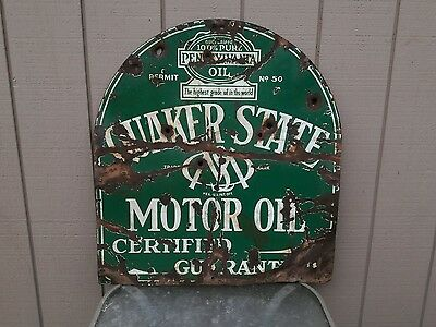 Vintage Dbl Side Porcelain Quaker State Oil Advertising Sign Orig Bullet Holes!