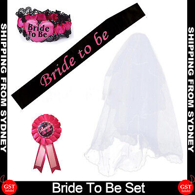 Bride To Be Hens Night Party Black Veil Badge Sash Lace Garter Set Bachelorette