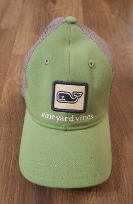 New Vineyard Vines Boy's Whale Patch Trucker Hat Green Mesh Back NWT One Size
