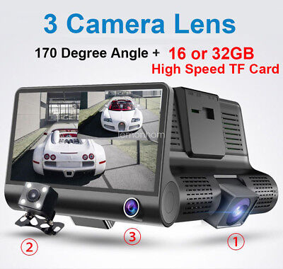3-Camera HD DVR Dash Cam Video Recorder 1080P Car Rear View Night Vision 16/ 32G