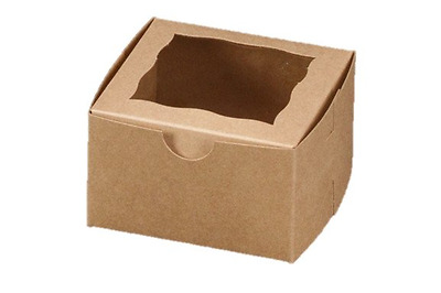 Brown Bakery Cupcake Box With Window 4x4x2.5 inch Paperboard Gift Box 25 Pack