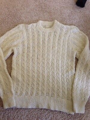 Hand Knitted Pattterned Cream Jumper Ladies