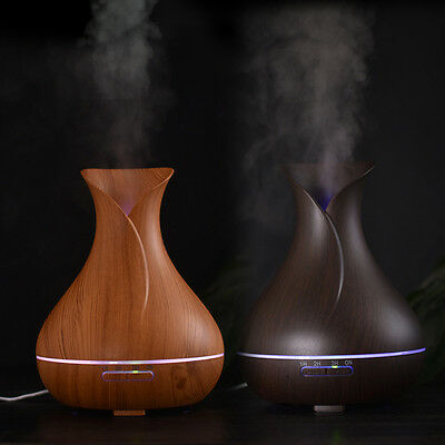 Wood Grain Aroma Diffuser Essential Oil Humidifier Aromatherapy Purifier 400ml