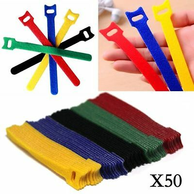 50pcs Reusable Nylon Strap Hook and Loop Cable velcro Cord Ties Tidy Organiser