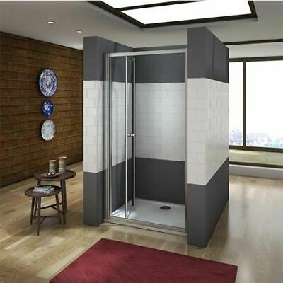 Bifold Door Shower Enclosure Walk In 5mm Safety Glass Cubicle Panle Tray Waste
