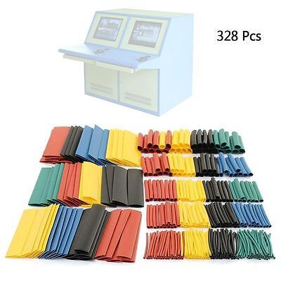 Hot 328Pcs 5 Colors 2:1 Heat Shrink Tubing Tube Sleeving Wire Cable Wrap Kit O2