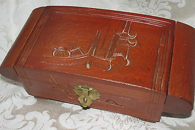 Antique Art Deco WOOD BOX Asian H/ Carved Pagoda Scene Brass Latch Locakble