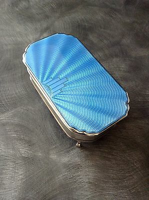 Solid Silver & Guilloche Enamel Blue Trinket/jewellery Box B'ham 1937