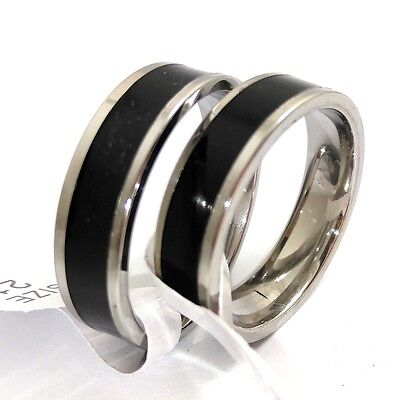 10pcs Black enamel 6mm Stainless Steel Rings Men Women Fashion Wedding Rings