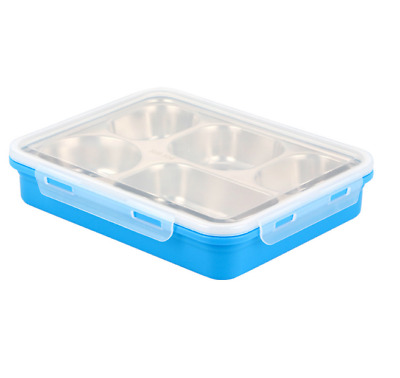 Stainless Steel Lunch Box Container With 5 Slots Bento Box For Kids Picnic Food