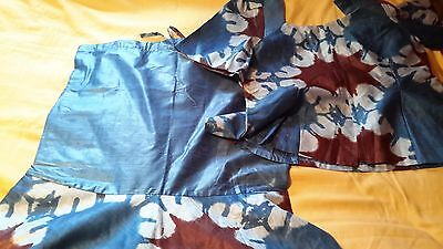 African Blue Mix Cotton Tie Dye Ladies Suit UK Size 20/22