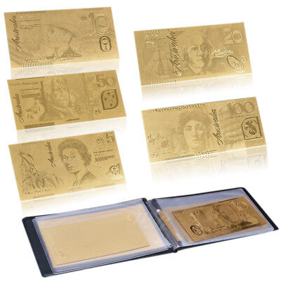 WR 24K Limited Gold Australian Dollar Note Set $5 - $100 5pcs Banknotes In Album