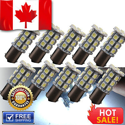 10X 7000K White 1156 BA15S 5050 27 SMD LED RV Camper Trailer Bulb Interior Light