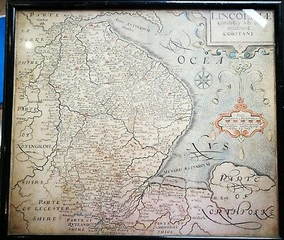 ORIGINAL ANTIQUE FRAMED MAP 1637 'LINCOLNIAE (Lincolnshire) by Saxton / Kip