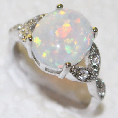 4 Colors Fire Opal Sterling Silver Plated Gemstone Jewelry Ring Size 6 7 8 9 10