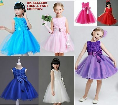 Girls Party Dress Bridesmaid/Prom/Wedding/Christening Formal Flower 2-7 Years