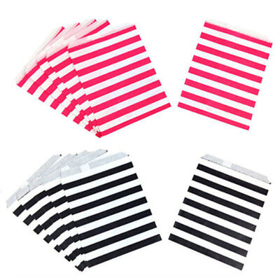 25Pcs 8 Colors & White Candy Stripe Paper Sweet Bags Wedding Festivals Welcomed