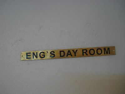 ENG`S DAY ROOM  – Marine BRASS Door Sign -  Boat/Nautical - 11 x 1 Inches (185)