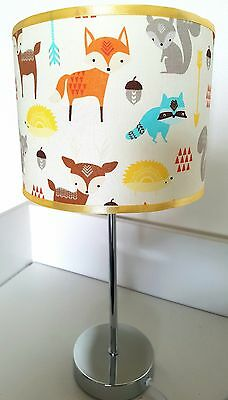 Bedside table touch lamp night light base fabric shade forest fox animal nursery