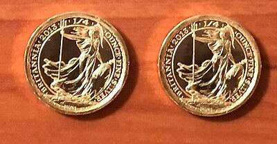 LOT OF 2-2013 1/4 BRITANNIA SILVER COINS FROM SHIPWRECK SILVER Gold Plated