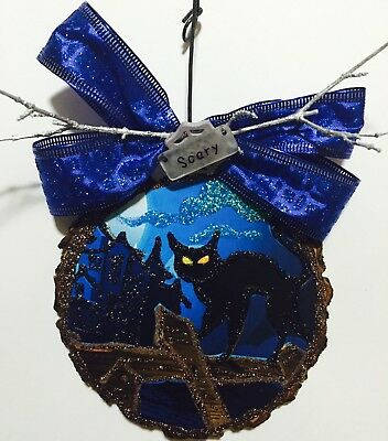 Wood Slice Halloween Black Cat Haunted House Glittered Ornament Greeting Card