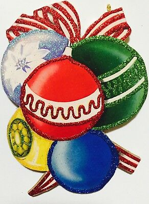 Bunch of Baubles Decorations Christmas VTG Glittered Ornament Greeting Card