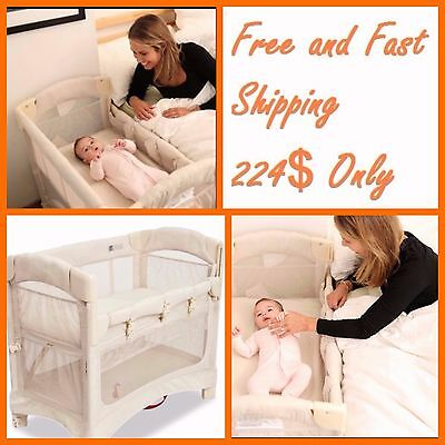 Co Sleeper Bed Arm's Reach Mini Ezee 2-in-1 crib in Natural  Safe Attach to Bed