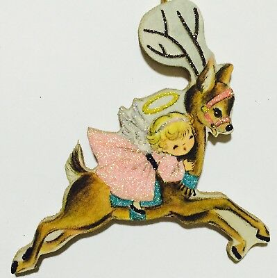 Angel on Reindeer Girl Pink Dress Christmas VTG Glittered Ornament Greeting Card