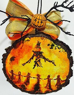 Wood Slice Halloween Pumpkins Scarecrow Fire  Glittered Ornament Greeting Card