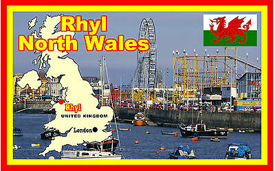 Rhyl, North Wales - Souvenir Novelty Fridge Magnet - Flags / Sights - Gifts