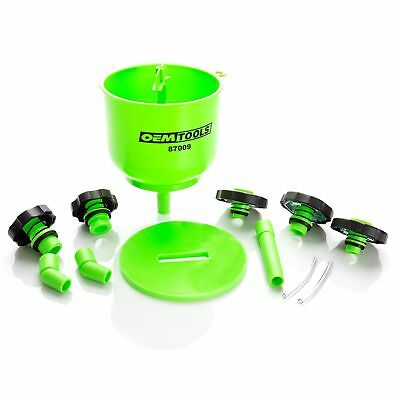 EMTOOLS 87009 No-Spill Coolant Filling Plastic Funnel Kit Quick & Easy Green New