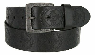 "Hagora Women's Real Full Grain Leather Vintage Motif Etched 1.5"" Wide Snap Belt"