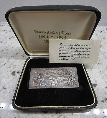 1864-1964 Bank of London & Mexico Sterling Silver 2-ozt Cien Pesos Money Repro