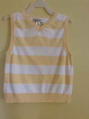Vest Size 5T by George Striped white yellow stripes 100% Cotton Boys / Girls