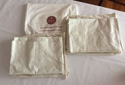 Blessed Earth Baby Organic Cotton Cot Sheet Set. Ex Cond. 2 Sets
