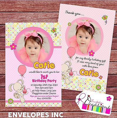 Personalised Birthday Invitations or Thank you cards 1st Birthday Girl x 5