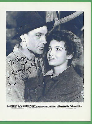 Joan Leslie SIGNED 8.5 X 11 b&w Autographed Photo with Gary Cooper Sergeant York