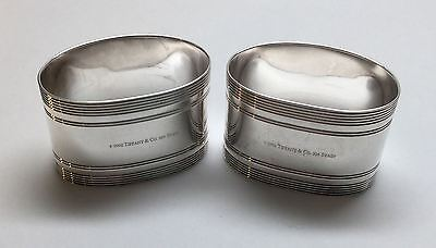 2 TIFFANY & CO. Sterling Silver 2002 Oval Napkin Rings Spain, No Mono