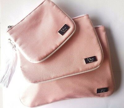 Genuine Dior Beauty Make Up Bag Pouch Travel Size X 3 Pink