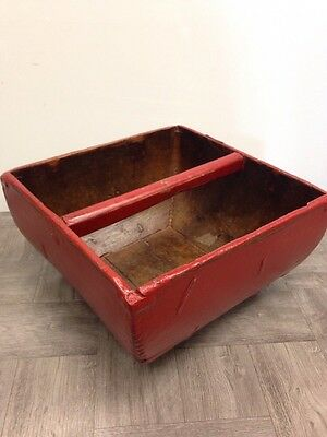 Antique Asian Red Wooden Rice Bucket Basket