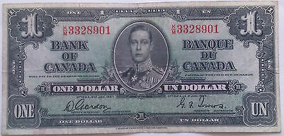 1937 Bank of Canada $1 One Dollar Banknote Gordon Towers