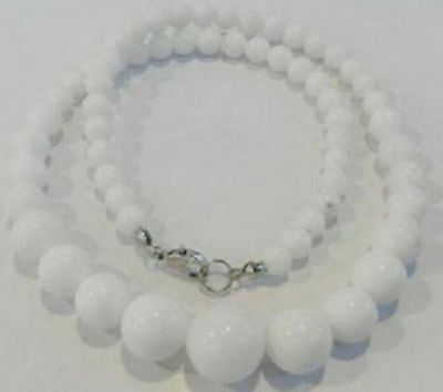 Natural 6-14mm White Jade Gemstone Round Beads Necklace 18'' Extend JN74